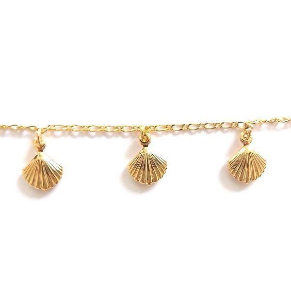 GOLD PLATED HIGH QUALITY NICKLE FREE CHARM BRACELET SHELL OYSTER CLAM ADJUSTABLE