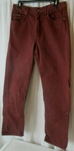 Vintage 90s Calvin Klein Maroon Denim Buttonfly Jeans Womens Size 11 Made In USA - $24.25