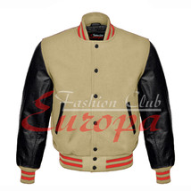 Genuine Leather Sleeve Letterman College Varsity Men Wool Jacket - $87.00