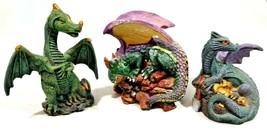 "3 Dragon Statues Medieval Fantasy Figurine Sculpture Decoration 4"" - $24.74"