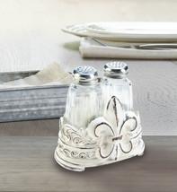 Salt & Pepper Shakers in Distressed White Fleur de Lis Holder - $27.95