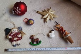 7 piece Lot of Vintage Christmas Ornaments angel, reindeer, Santa, snowm... - $14.80