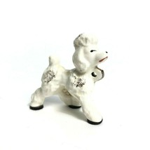 Vintage 1950s French Poodle Small Figurine / Pup - White with Gold Trim - $11.62