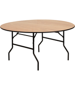 Offex 60'' Round Wood Folding Banquet Table with Clear Coated Finished Top - $339.89