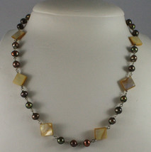.925 SILVER RHODIUM NECKLACE WITH BROWN PEARLS AND YELLOW MOTHER OF PEARL image 1