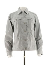 Denim & Co Stretch Colored Denim Long Sleeve Jean Jacket COOL GREY XS NE... - $30.67