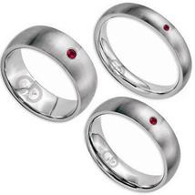 Ruby Gem Titanium Ring Satin Brushed Finish Comfort Fit Wedding Engageme... - $49.00+