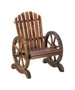 Outdoor Accent Chair, Wagon Wheel Wood Rustic Lawn Garden Patio Adironda... - $167.09