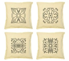 Mystery Colorful Design Element Print Khaki Throw Pillow Case VPLC_02 Si... - $212,59 MXN