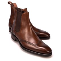 Handmade Men's Brown Leather Wing Tip Brogues High Ankle Chelsea Leather Boo image 1