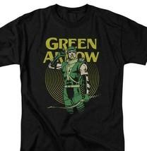 Green Arrow T-shirt retro 80s DC comic book cartoon superhero black tee DCO800 image 1