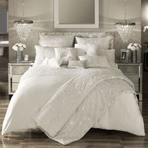 KYLIE MINOGUE DARCEY OYSTER SATIN 200TC SUPER KING SIZE DUVET COVER - $155.73