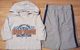 Boy's Size 3-6 M Months 2P Gray Old Navy Hooded Speed Demon Top & Carter... - $14.00