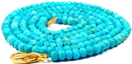 3-4MM Natural Turquoise Faceted Beads Beaded Gold Fish Lock Necklace Jew... - $14.01+