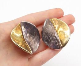 925 Silver & 14K GOLD - Vintage 2 Tone Modernist Non Pierce Drop Earring... - $67.05