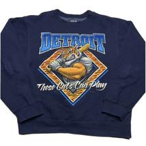 Fruit Of The Loom Mens M Detroit Tigers Big Graphic Crewneck Sweatshirt Blue - $39.93