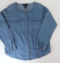 Denim & Co sz med button front denim shirt round collar pockets medium wash - $40.00