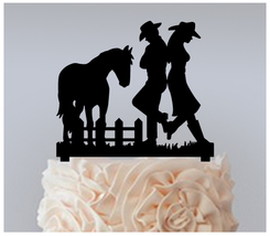 Wedding Cake topper,Cupcake topper,silhouette couple cowboy & cowgirl : 11 pcs - $20.00