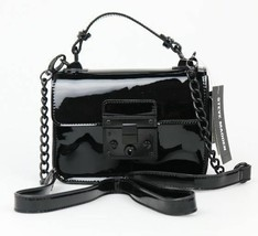 Steve Madden NWT BEVIE Black Faux Patent Leather Crossbody Shoulder Hand... - $38.79