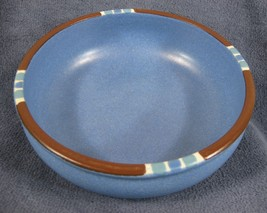 "Dansk Mesa Sky Blue Coupe Soup Bowls 5 7/8"" Japan Cereal Brown White Rims - $19.95"