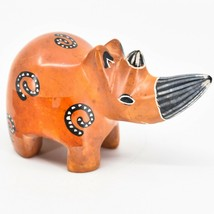 Crafts Caravan Soapstone Orange Rhinoceros Rhino Figurine Made in Kenya - $12.86
