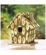 Cottage Bird House Moss Edged Knotty Wood Outdoor Garden Yard Home Decor... - $15.30