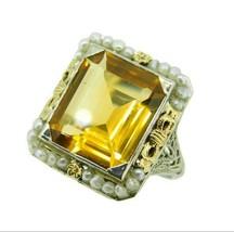 14k Gold Deco 7 Carat Genuine Natural Citrine Filigree Ring with Bows (#... - $1,325.00
