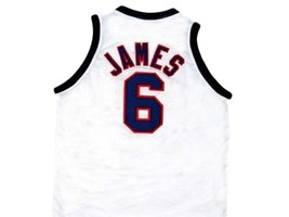 Lebron James #6 Team USA New Men Basketball Jersey White Any Size image 5