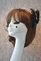 Hand Made Black Temptation Party Feather Netting Veil With Hairpin