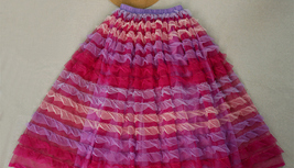 Adult Tiered Midi Tulle Skirts Pink Red Purple Tiered Tulle Party Skirt US0-US28 image 2
