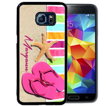 PERSONALIZED RUBBER CASE FOR SAMSUNG NOTE 9 8 5 4 PINK BEACH FLIP FLOPS ... - $13.98