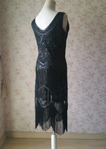 BLACK Retro Style Sleeveless Beaded Sequin Dress Tassel Short Evening Dress NWT image 4