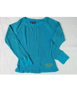 girls long sleeve blue gold Thermal top winter size L 100% cotton Preowned! - $8.13