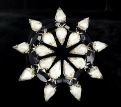 Vintage Art Deco Silver Clear Black Paste Rhinestone Sunburst Floral Bro... - $53.99
