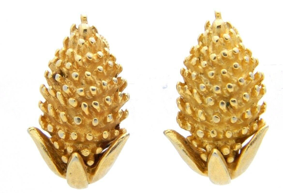VTG CORO Gold Tone Acorn Wheat Screwback Clip Earrings