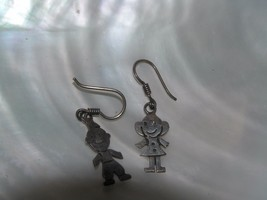 Vintage Small 925 Marked Silver Smiling Boy & Girl Dangle Earrings for Pierced  - £9.30 GBP