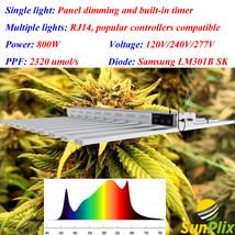 SunPlix 10 Bar 800W 2320 PPF Full Spectrum LED Grow Light, Samsung Diode LM301B - $1,069.99+