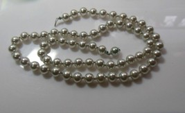 vintage gray Knotted faux pearl necklace push in clasp - $35.63