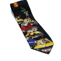 Looney Tunes Men's Blue Silk Tie Acme Taxi Bugs Taz Tweety Wiley Coyote ... - $32.73