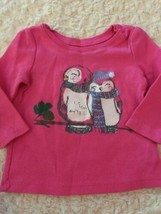 Childrens Place Girls Pink Thermal Penguins Glitter Long Sleeve Shirt 6-... - $5.00