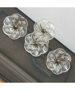 4 Vintage/Antique Floral Pressed Glass Curtain Tie Back Push Pins Tacks  - $68.31
