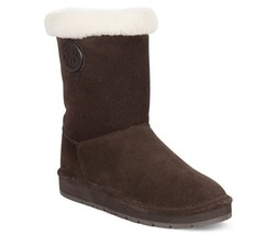 Michael Kors MK Coffee Shearling Fur Winter MID Ankle Boots Shoes Multi ... - $99.99