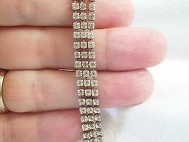 Vintage Rhinestone Bracelet 3 Strands Prong Set Silver Plated Tennis Est... - $14.80