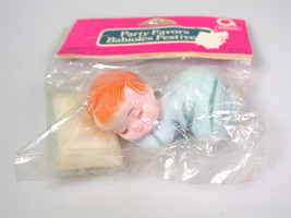 Vintage Baby shower cake topper Sleeping baby boy cake Decoration Hong Kong - $15.91