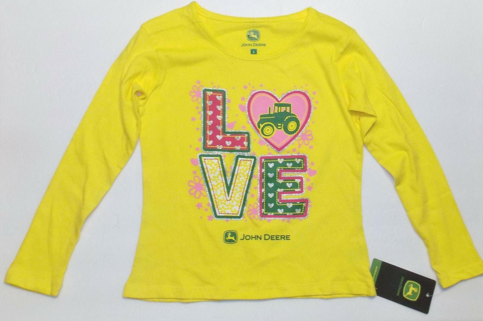 John Deere Girls Long Sleeve Yellow Love Shirt Sizes 4, 5 and 6 NWT