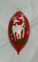 Reindeer Two of You Christmas Ornament Glass Reverse Painted New Bent Br... - $24.74