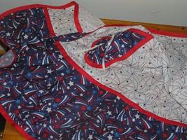 Handmade Red White & Blue Patriotic Stars & Stripes Cotton Full-Size Apr... - $10.39