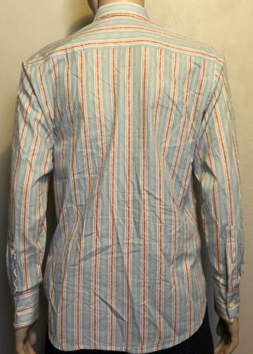 Men's Robert Graham LS BF Striped Embroidered Flip Cuff Shirt Medium Teal Salmon