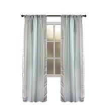 Allen + Roth NORTHFIELD Aqua Stripe Tan Blue Thermal Panel Drape Curtain... - $29.68
