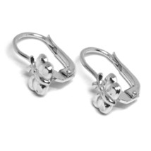 18K WHITE GOLD KIDS EARRINGS, HAMMERED BUTTERFLY, LEVERBACK CLOSURE, ITALY MADE image 2